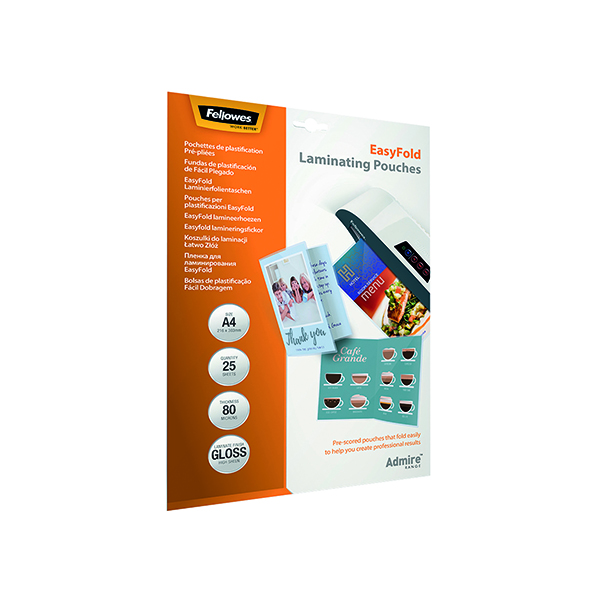 FELLOWES EASYFOLD LAMINATE POUCH A4 PK25