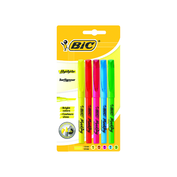 BIC BRITE LINER HIGHLIGHTERS ASSORT PK5