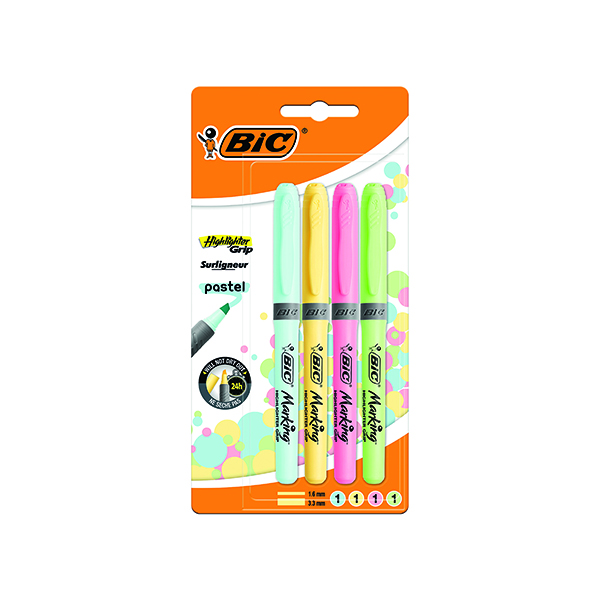 BIC HIGHLIGHTER GRIP PASTEL ASTD PK4