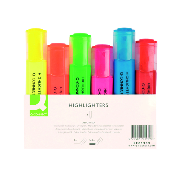Q CONNECT HIGHLIGHTERS ASSORTED PK6