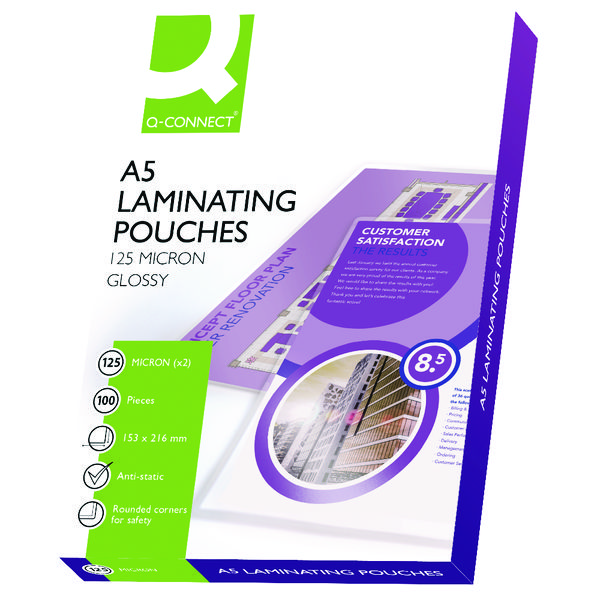 Q-CONNECT A5 LAMINATING POUCH 250MC P100