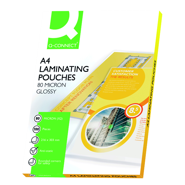 QCONNECT LAMINATING POUCH A4 160MIC P100