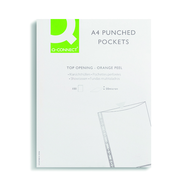 Q CONNECT PUNCHED POCKET A4 PK100